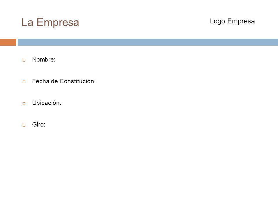 La Empresa Logo Empresa Nombre: Fecha de Constitución: Ubicación: