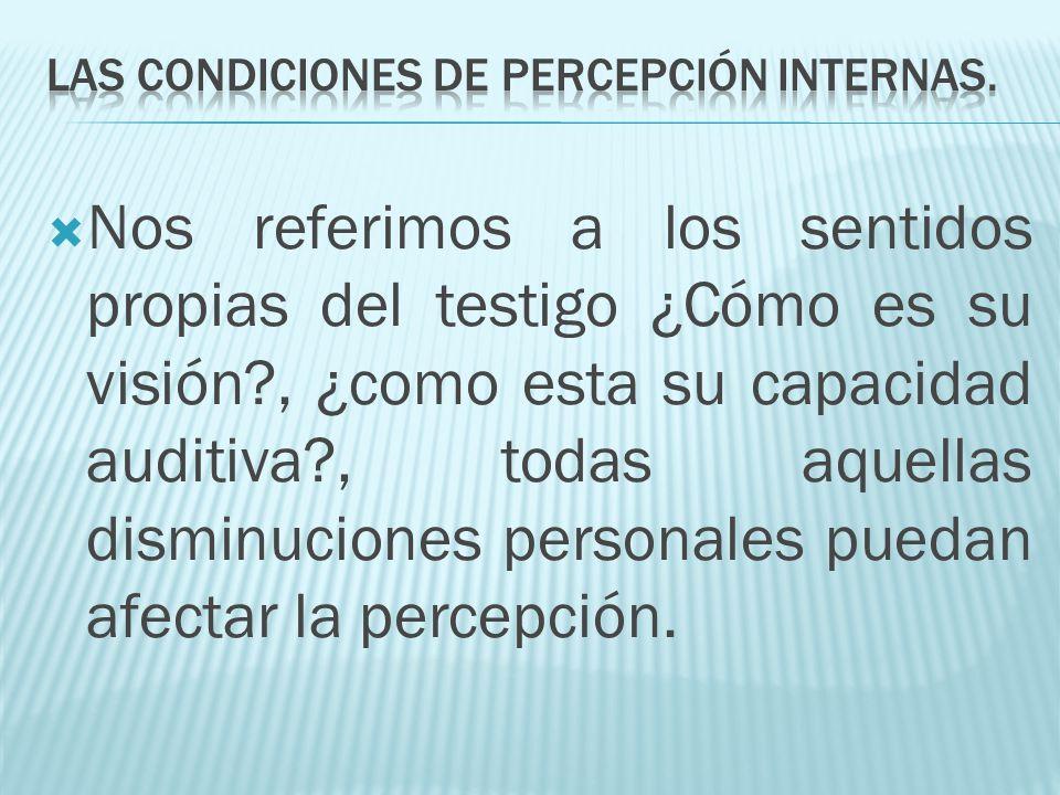 Las condiciones de percepción internas.