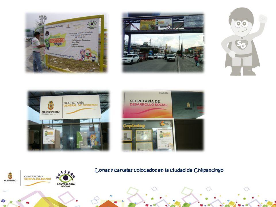 Lonas y carteles colocados en la ciudad de Chilpancingo