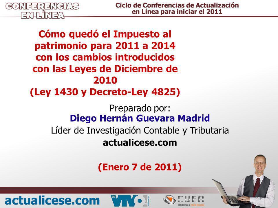 Cómo quedó el Impuesto al patrimonio para 2011 a 2014 con los cambios introducidos con las Leyes de Diciembre de 2010 (Ley 1430 y Decreto-Ley 4825)