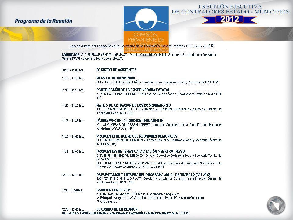 2012 Programa de la Reunión