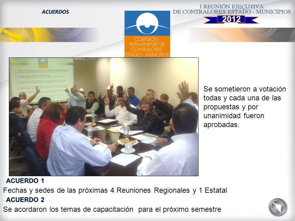 2012 ACUERDOS. Se sometieron a votación todas y cada una de las propuestas y por unanimidad fueron aprobadas.