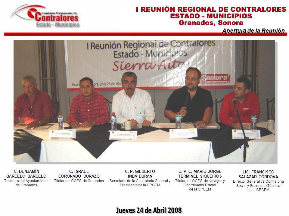 Jueves 24 de Abril 2008 Apertura de la Reunión