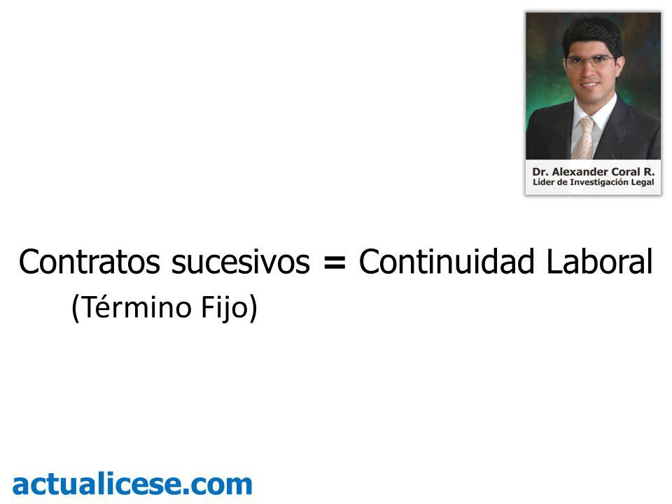 Contratos sucesivos = Continuidad Laboral (Término Fijo)