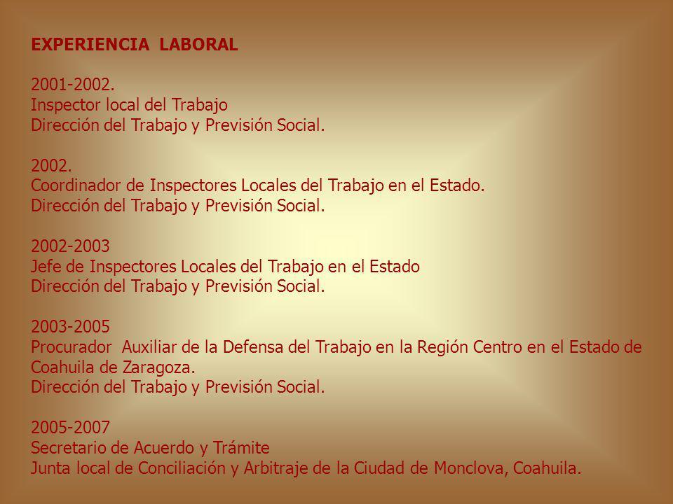 EXPERIENCIA LABORAL 2001-2002. Inspector local del Trabajo. Dirección del Trabajo y Previsión Social.