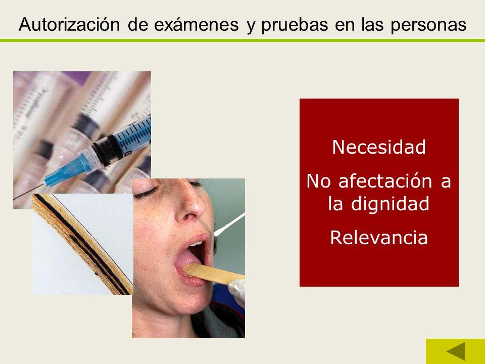 Autorización de exámenes y pruebas en las personas
