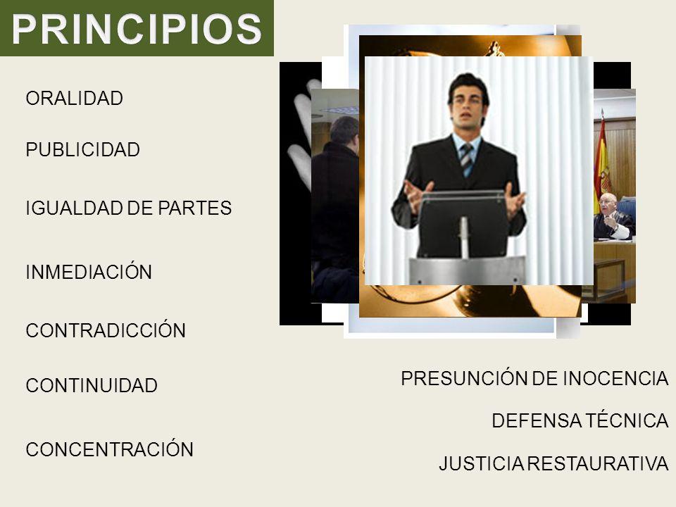 PRINCIPIOS ORALIDAD PUBLICIDAD IGUALDAD DE PARTES INMEDIACIÓN