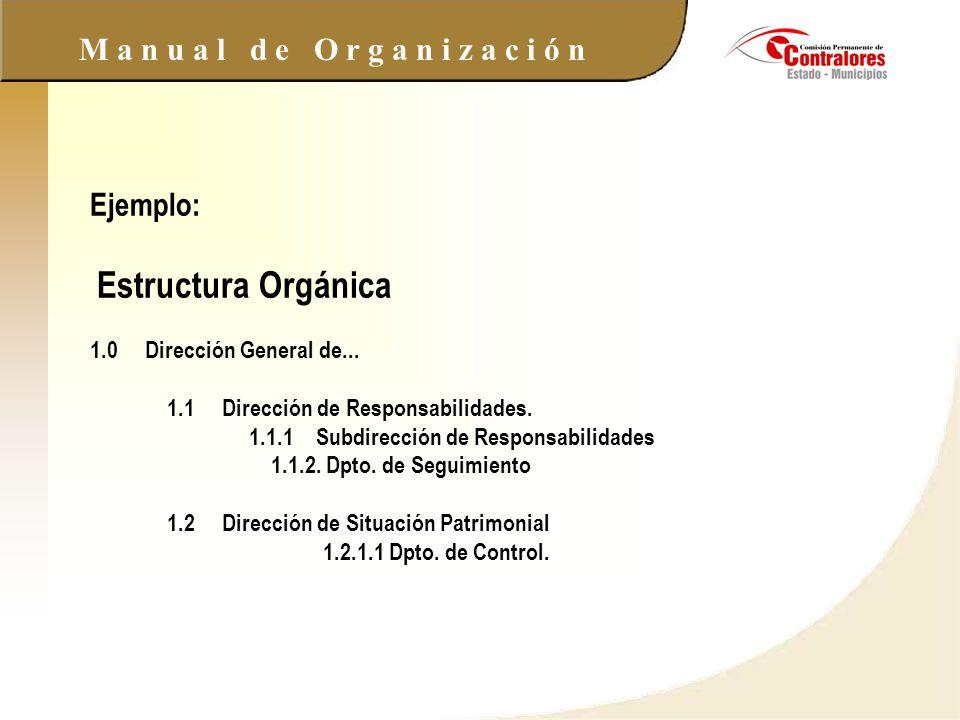Ejemplo: Estructura Orgánica 1. 0 Dirección General de. 1