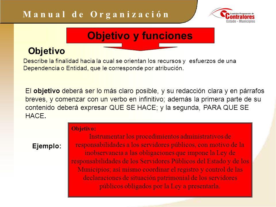 Objetivo y funciones Objetivo