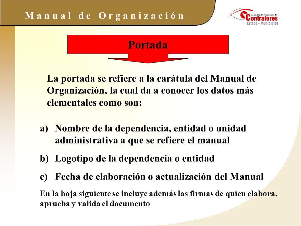 Portada La portada se refiere a la carátula del Manual de Organización, la cual da a conocer los datos más elementales como son: