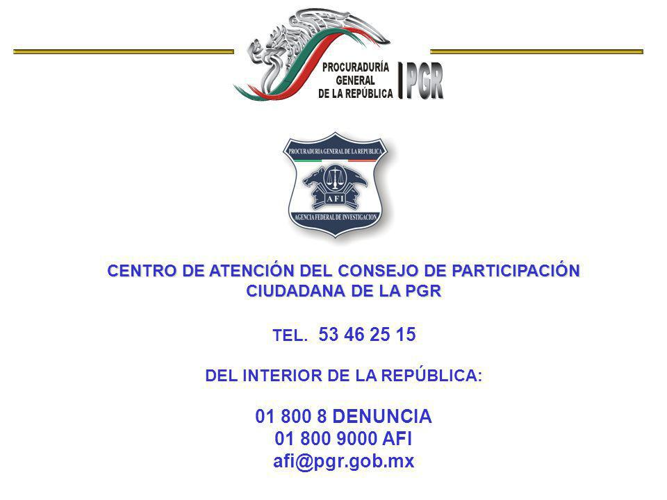 01 800 8 DENUNCIA 01 800 9000 AFI afi@pgr.gob.mx