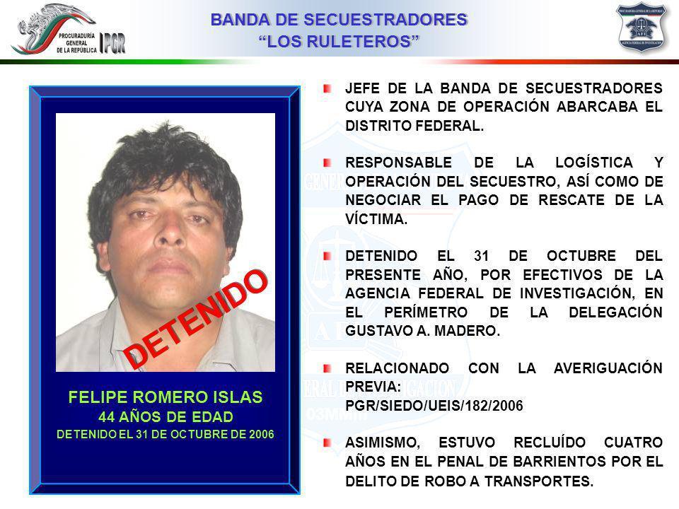 DETENIDO EL 31 DE OCTUBRE DE 2006