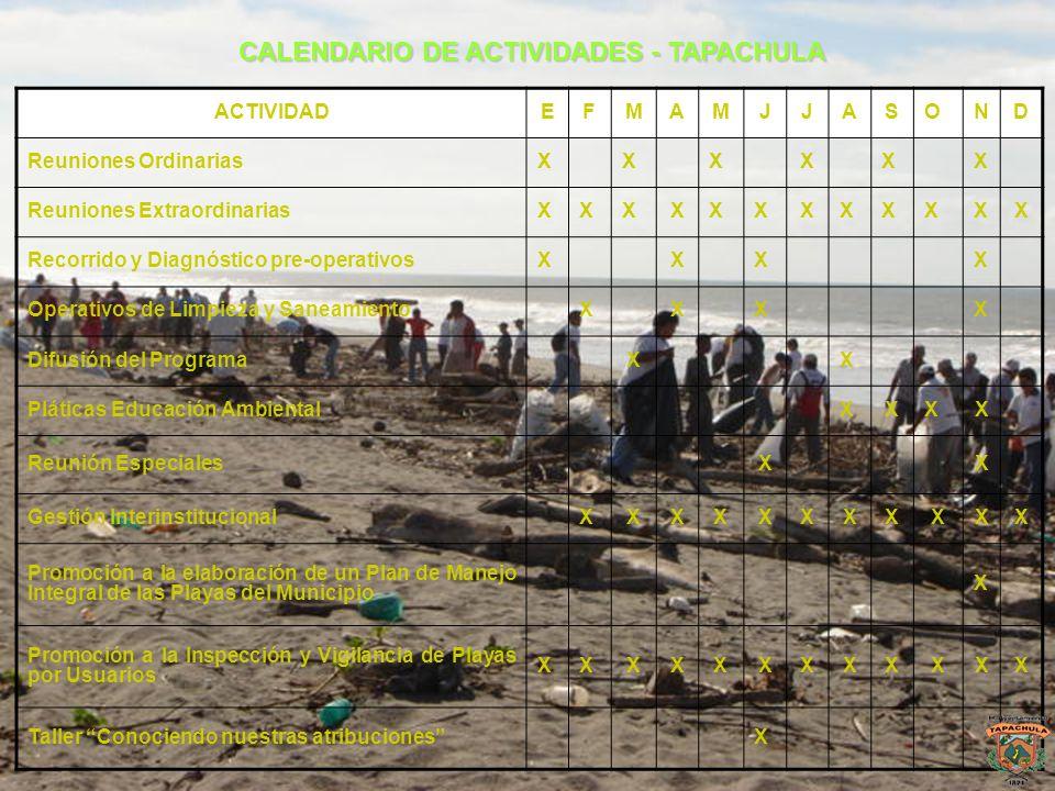 CALENDARIO DE ACTIVIDADES - TAPACHULA