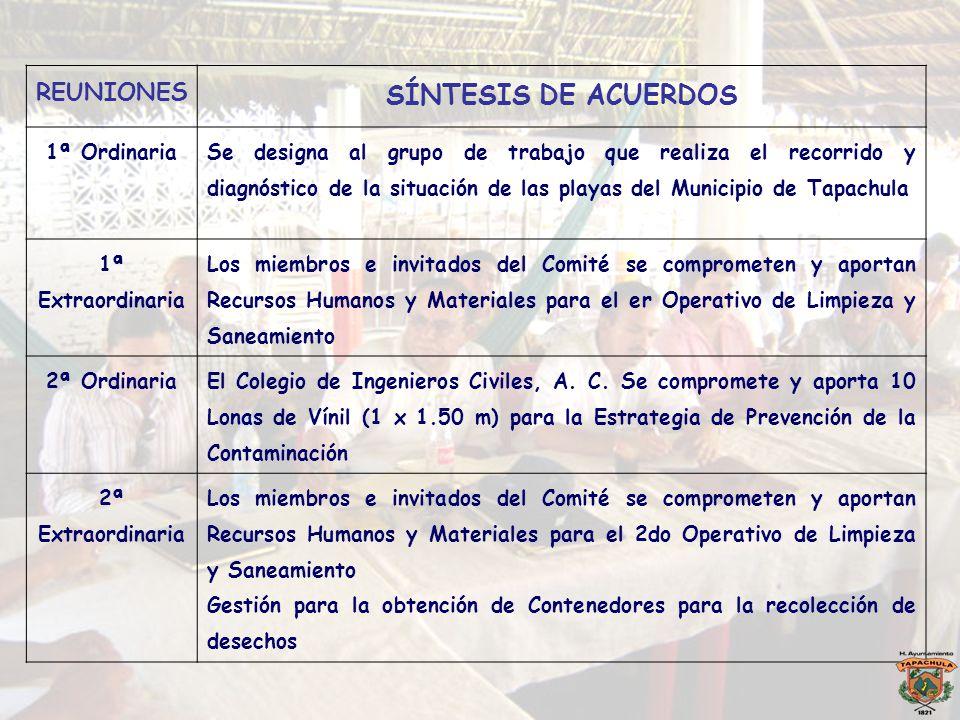 SÍNTESIS DE ACUERDOS REUNIONES 1ª Ordinaria