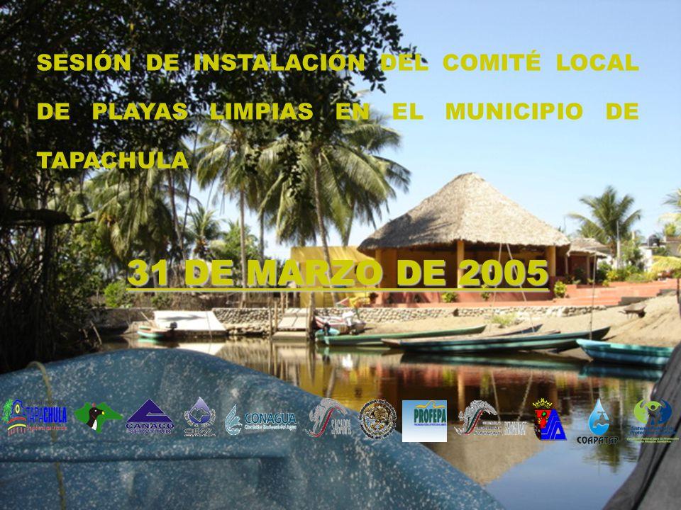 SESIÓN DE INSTALACIÓN DEL COMITÉ LOCAL DE PLAYAS LIMPIAS EN EL MUNICIPIO DE TAPACHULA