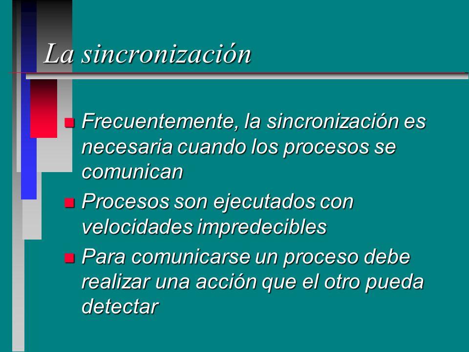 La sincronización Frecuentemente, la sincronización es necesaria cuando los procesos se comunican.