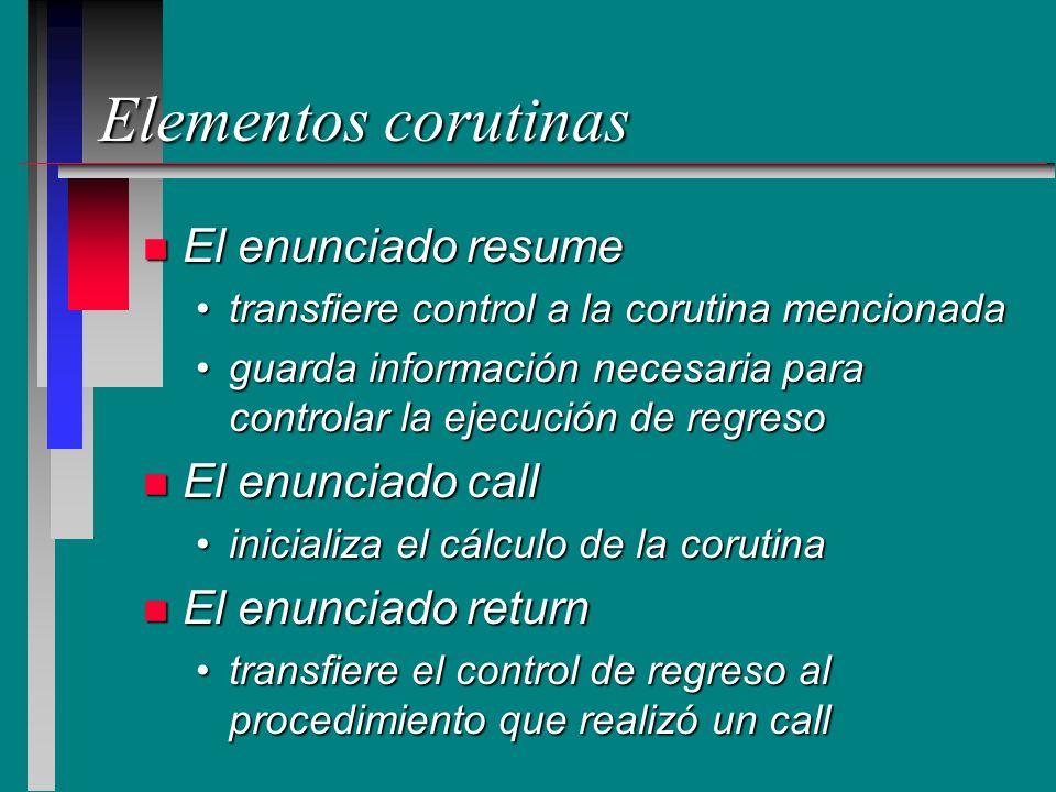 Elementos corutinas El enunciado resume El enunciado call