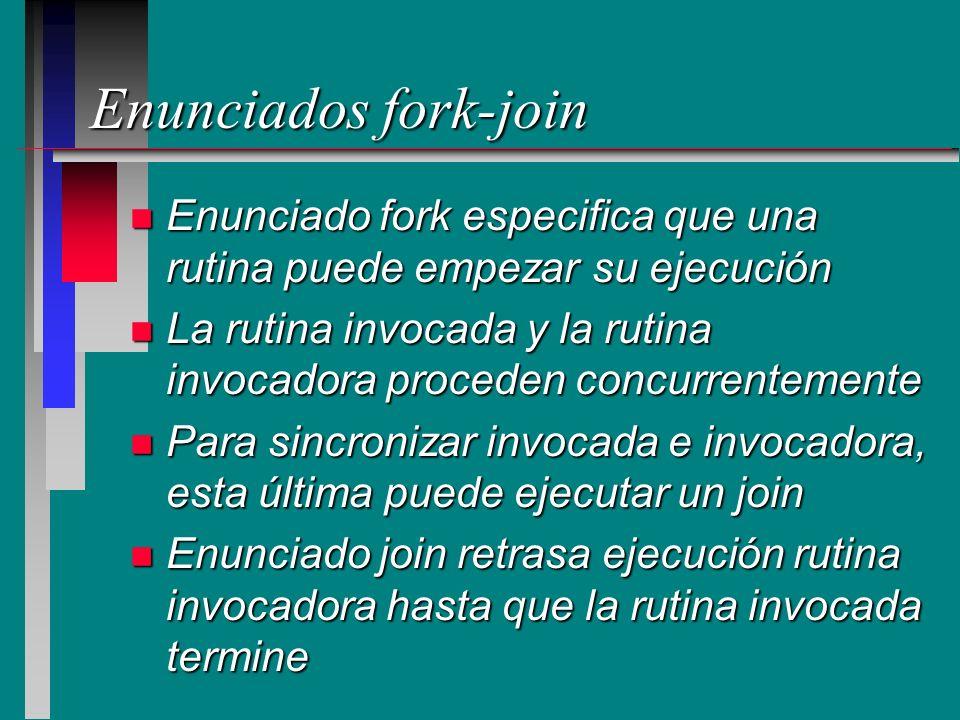 Enunciados fork-join Enunciado fork especifica que una rutina puede empezar su ejecución.