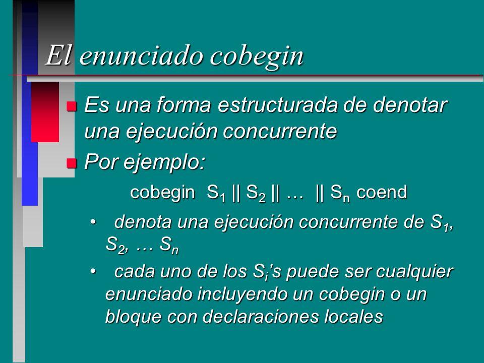 El enunciado cobegin Es una forma estructurada de denotar una ejecución concurrente. Por ejemplo: denota una ejecución concurrente de S1, S2, … Sn.