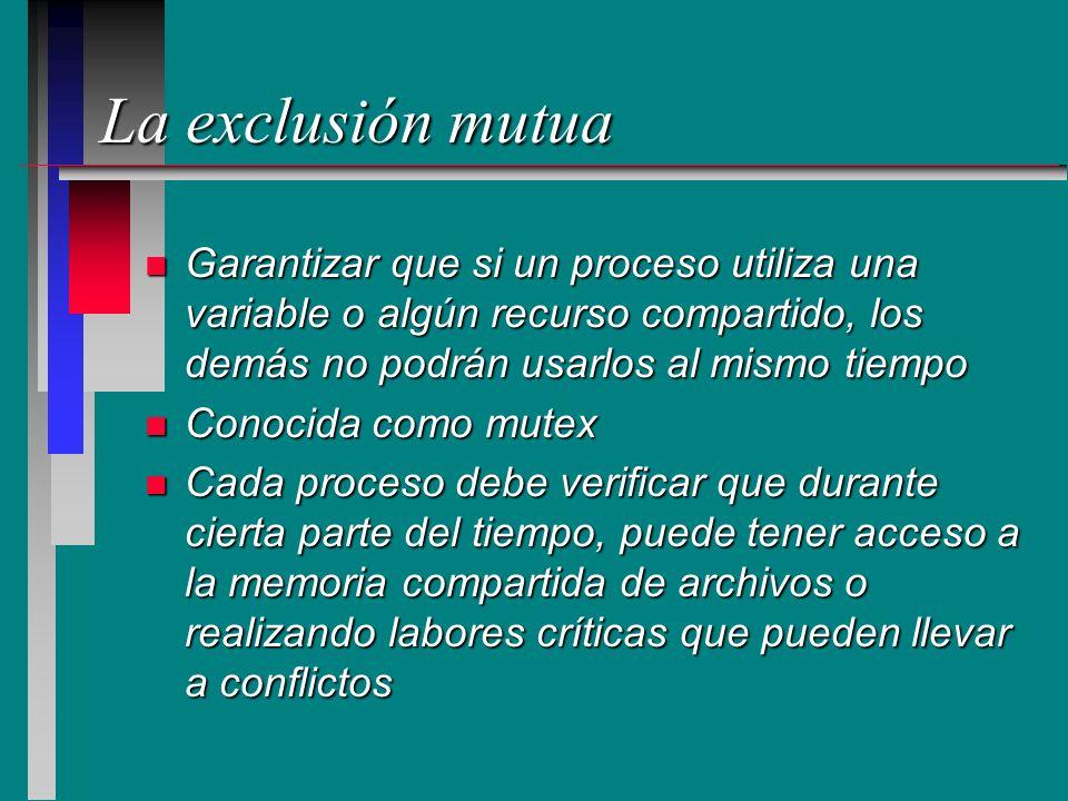 La exclusión mutua Garantizar que si un proceso utiliza una variable o algún recurso compartido, los demás no podrán usarlos al mismo tiempo.