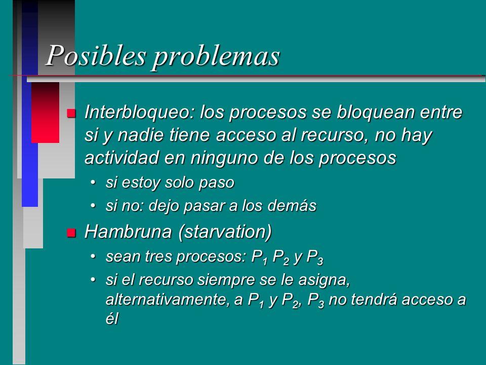 Posibles problemas Interbloqueo: los procesos se bloquean entre si y nadie tiene acceso al recurso, no hay actividad en ninguno de los procesos.