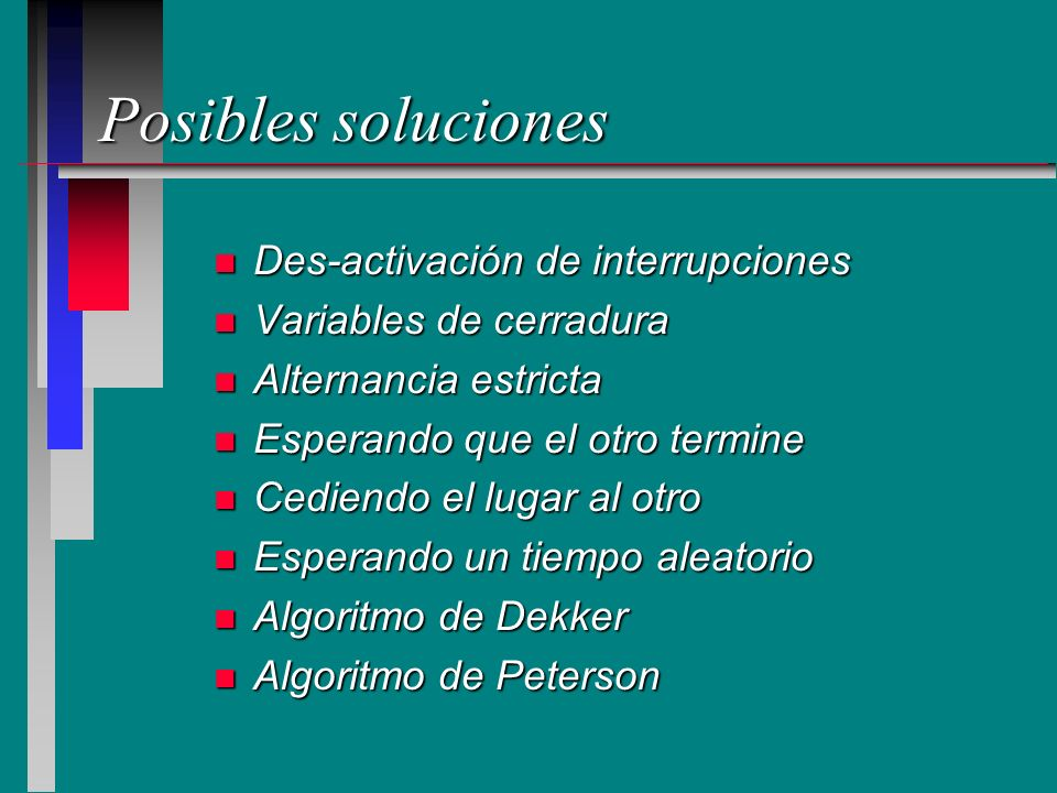 Posibles soluciones Des-activación de interrupciones