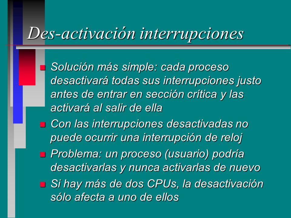Des-activación interrupciones