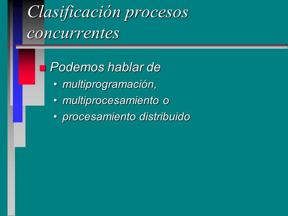Clasificación procesos concurrentes