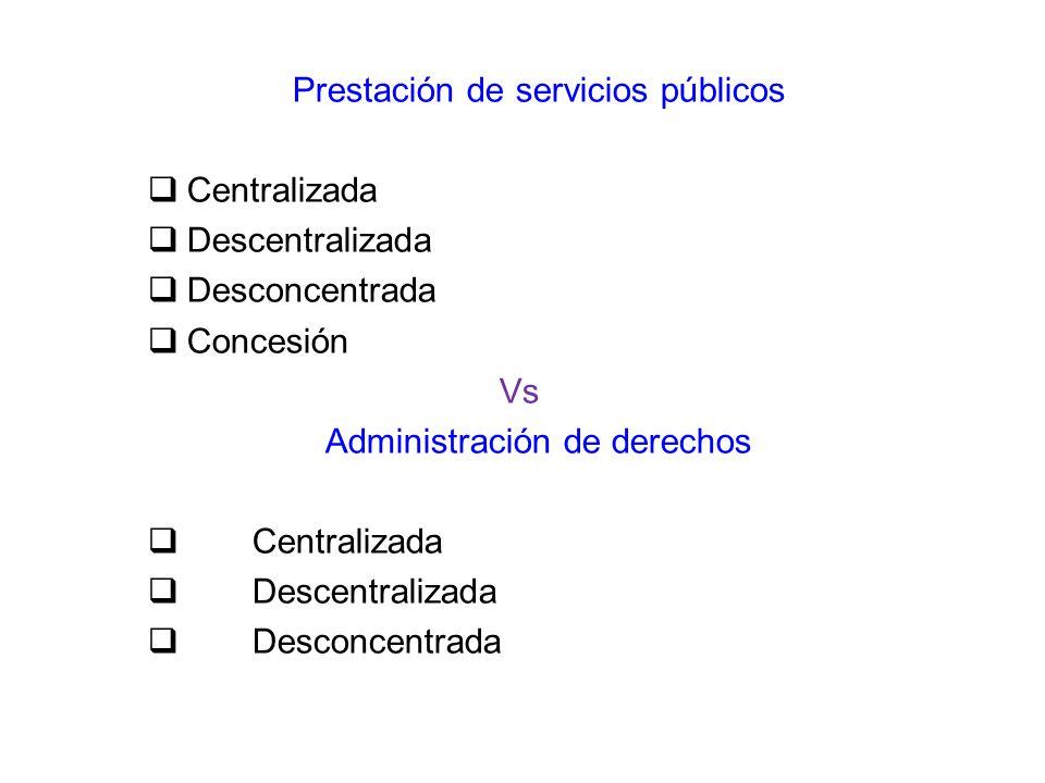 Prestación de servicios públicos Centralizada Descentralizada
