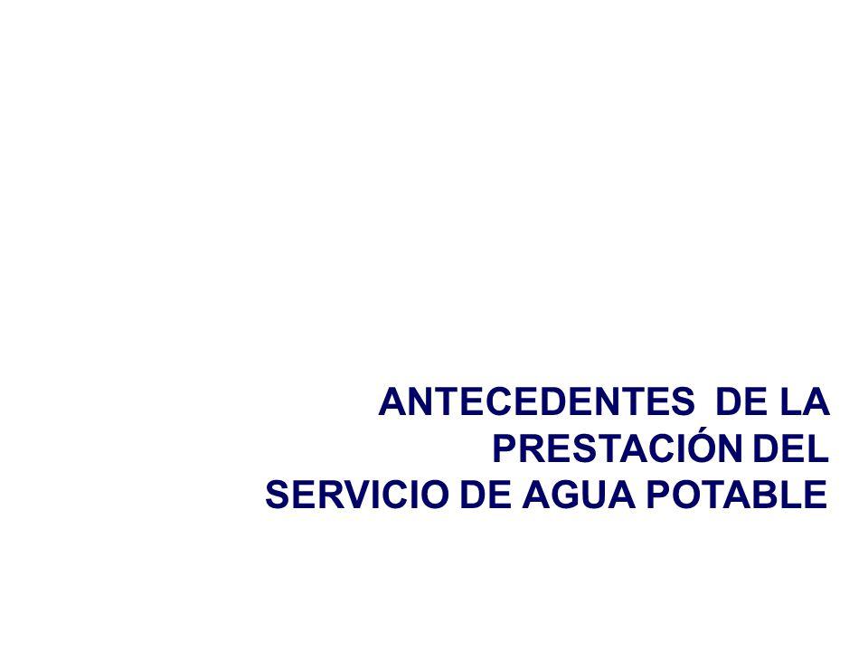 ANTECEDENTES DE LA PRESTACIÓN DEL SERVICIO DE AGUA POTABLE