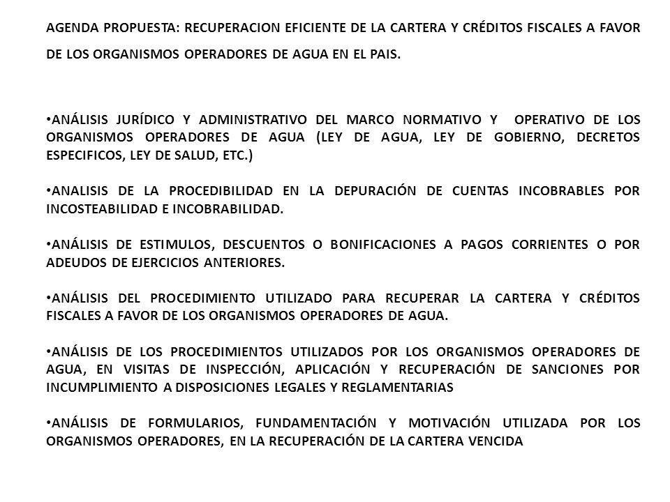 AGENDA PROPUESTA: RECUPERACION EFICIENTE DE LA CARTERA Y CRÉDITOS FISCALES A FAVOR DE LOS ORGANISMOS OPERADORES DE AGUA EN EL PAIS.