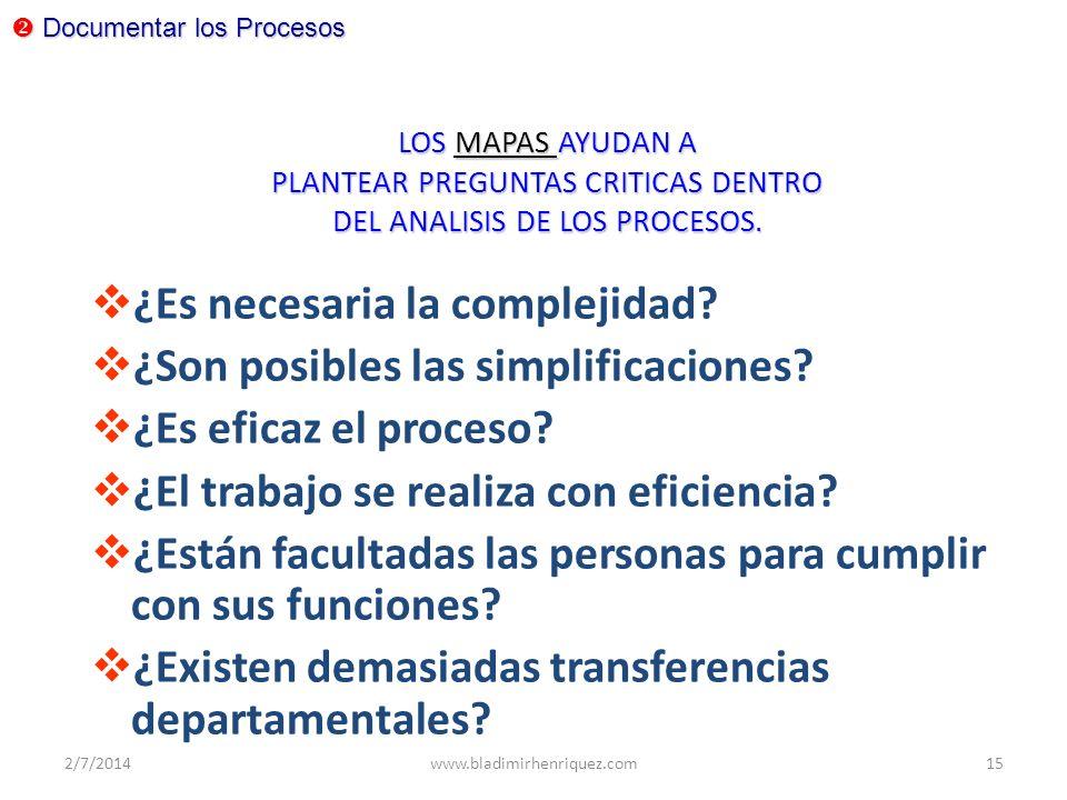¿Es necesaria la complejidad ¿Son posibles las simplificaciones