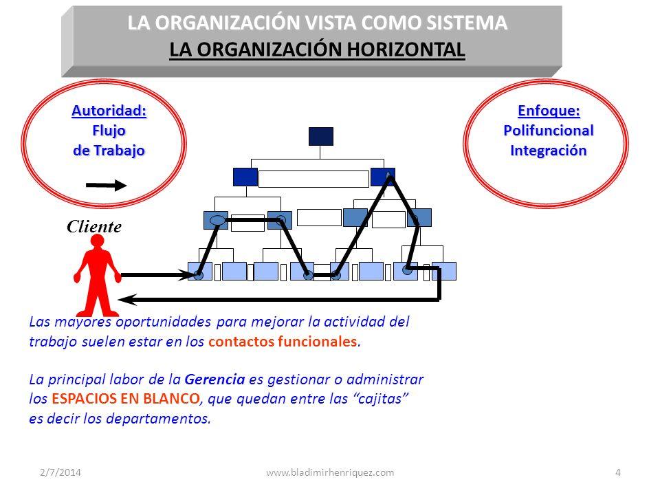 LA ORGANIZACIÓN VISTA COMO SISTEMA LA ORGANIZACIÓN HORIZONTAL