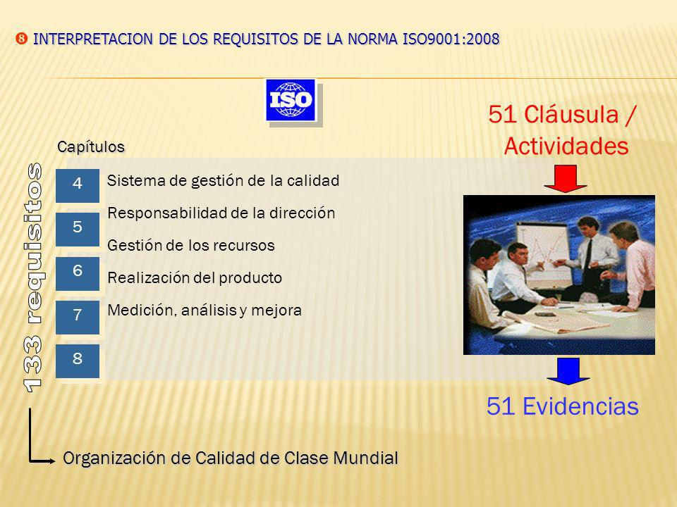 133 requisitos 51 Cláusula / Actividades 51 Evidencias