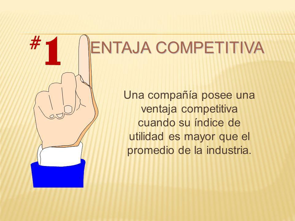 VENTAJA COMPETITIVA Una compañía posee una ventaja competitiva cuando su índice de utilidad es mayor que el promedio de la industria.