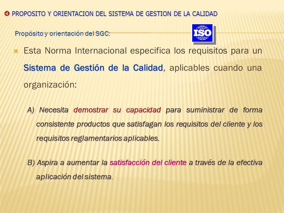 PROPOSITO Y ORIENTACION DEL SISTEMA DE GESTION DE LA CALIDAD