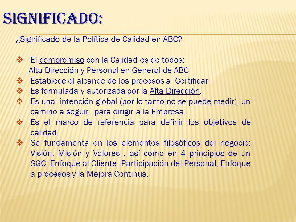 Significado: ¿Significado de la Política de Calidad en ABC