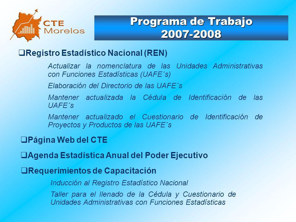 Programa de Trabajo 2007-2008 Registro Estadístico Nacional (REN)