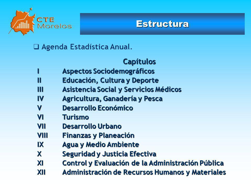 Estructura Capítulos Agenda Estadística Anual.