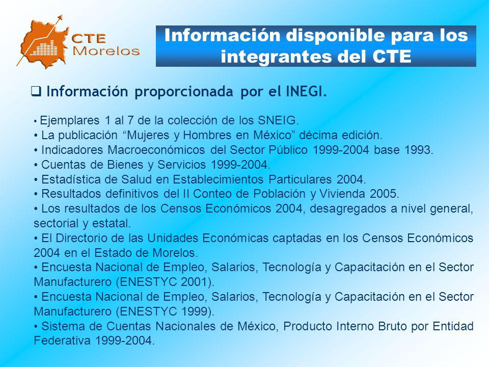 Información disponible para los integrantes del CTE