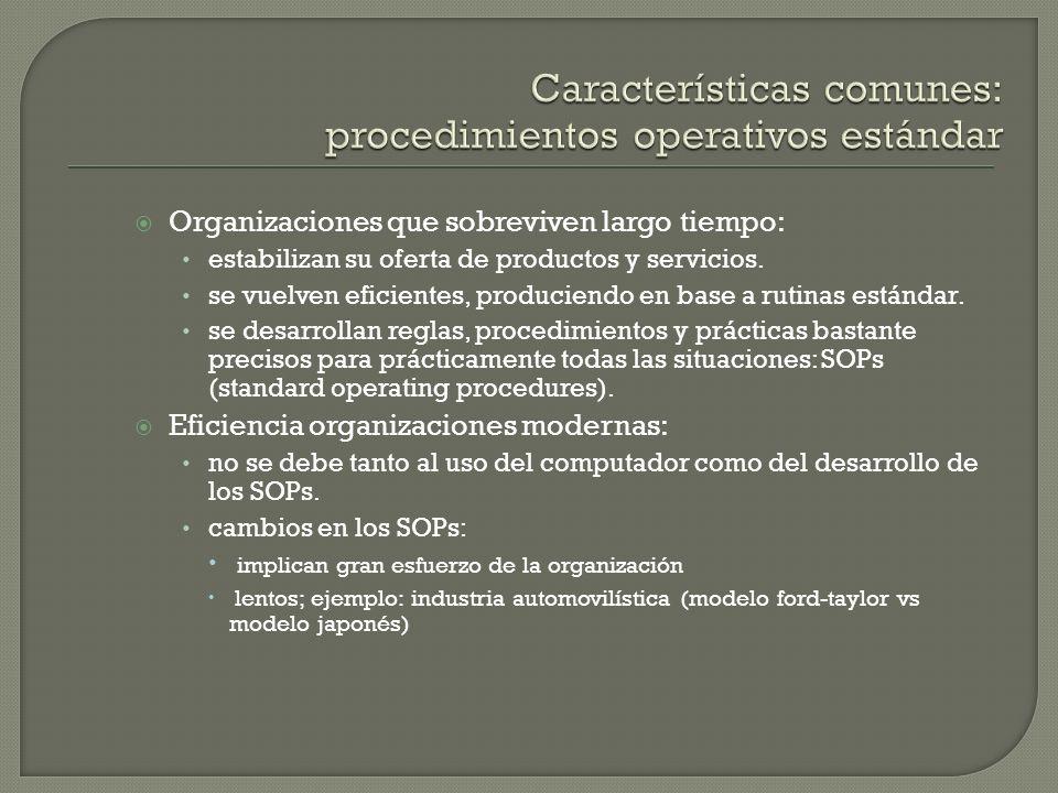 Características comunes: procedimientos operativos estándar