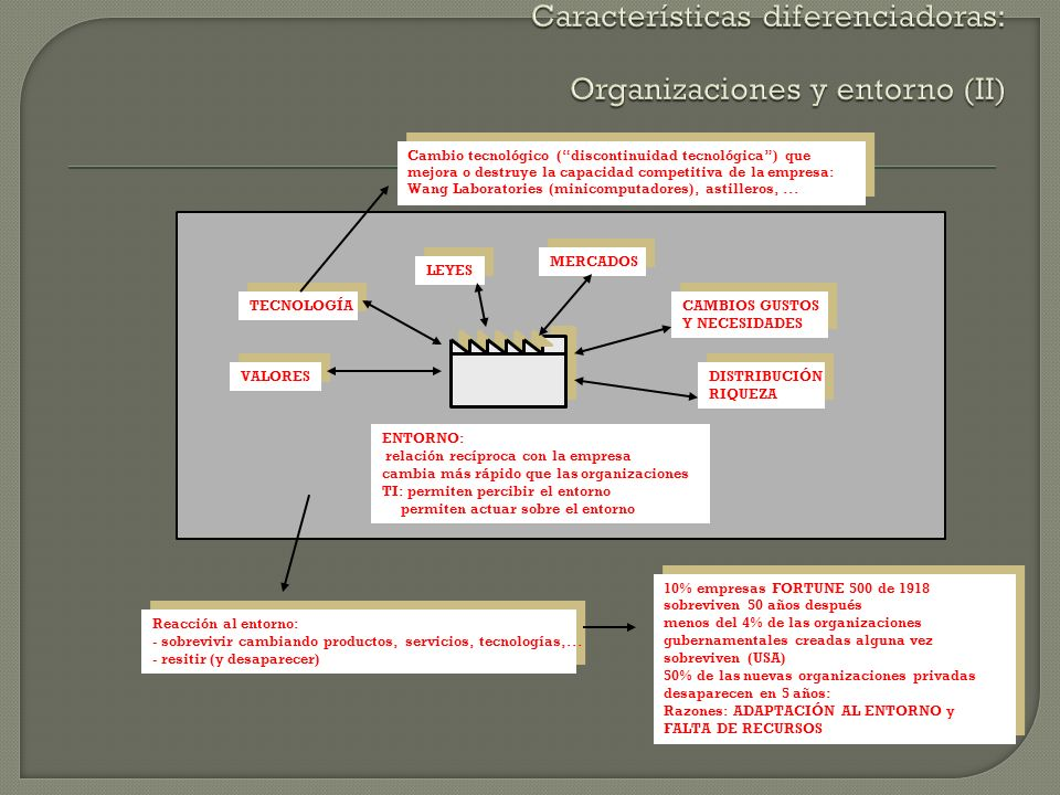 Características diferenciadoras: Organizaciones y entorno (II)