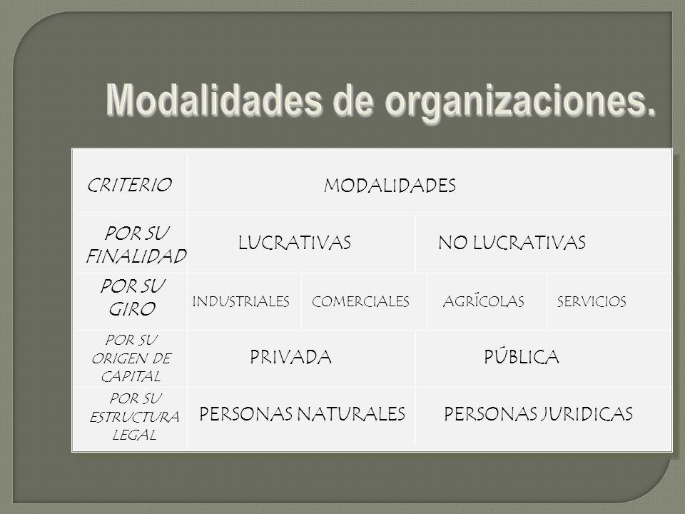 Modalidades de organizaciones.