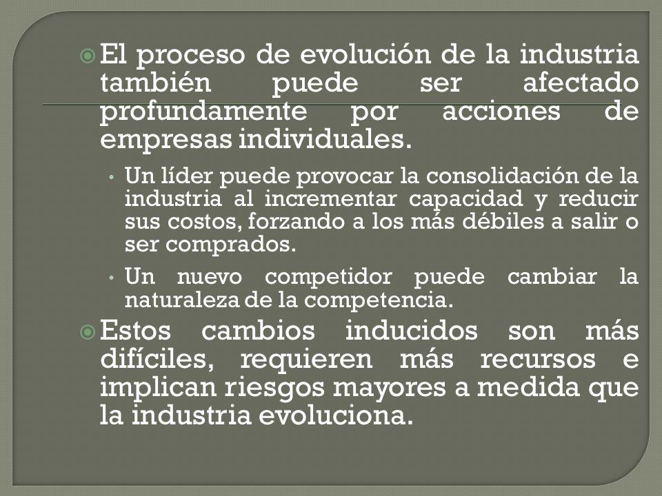 El proceso de evolución de la industria también puede ser afectado profundamente por acciones de empresas individuales.