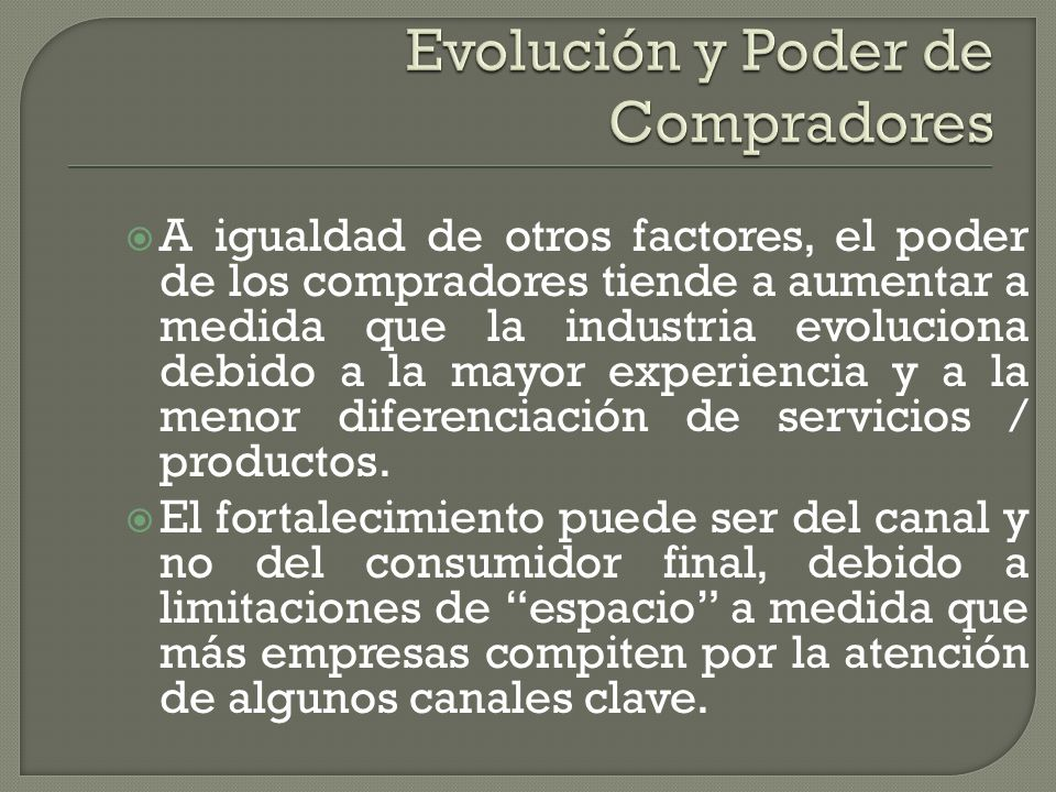Evolución y Poder de Compradores