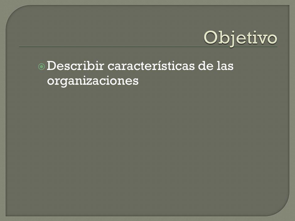 Objetivo Describir características de las organizaciones
