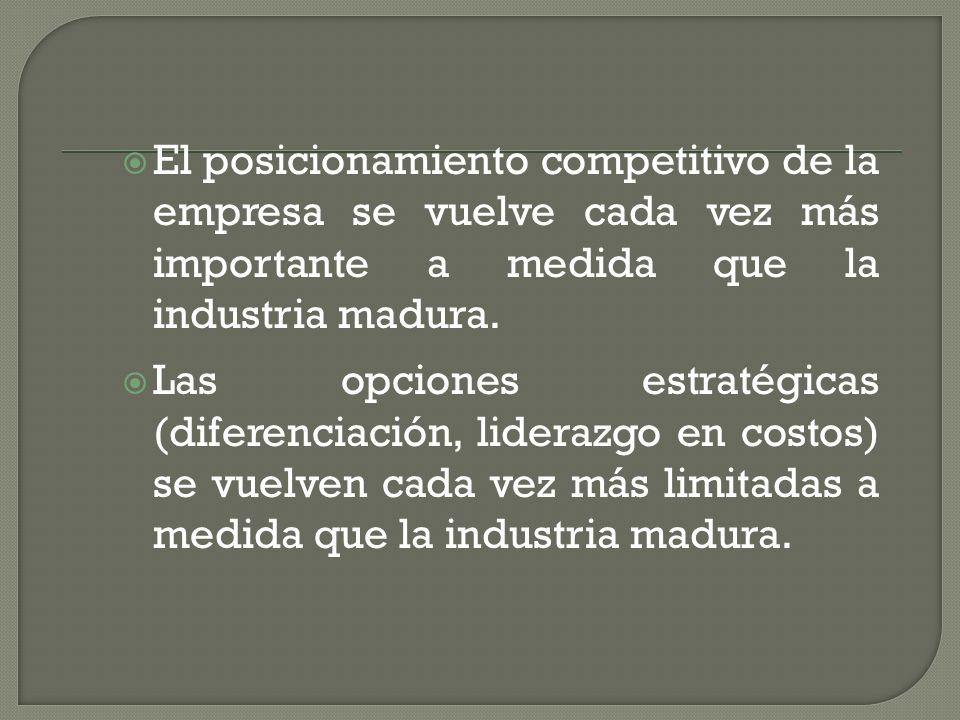 El posicionamiento competitivo de la empresa se vuelve cada vez más importante a medida que la industria madura.