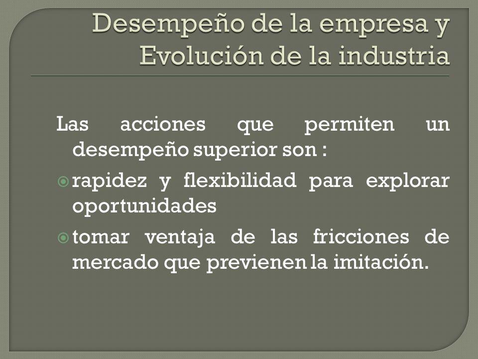Desempeño de la empresa y Evolución de la industria