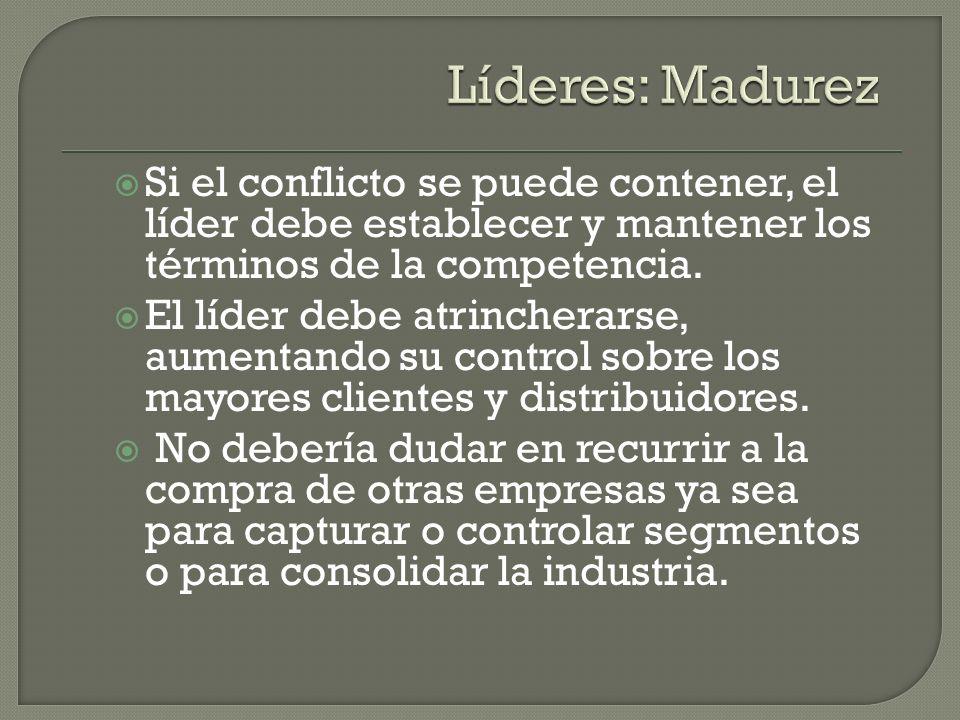 Líderes: Madurez Si el conflicto se puede contener, el líder debe establecer y mantener los términos de la competencia.