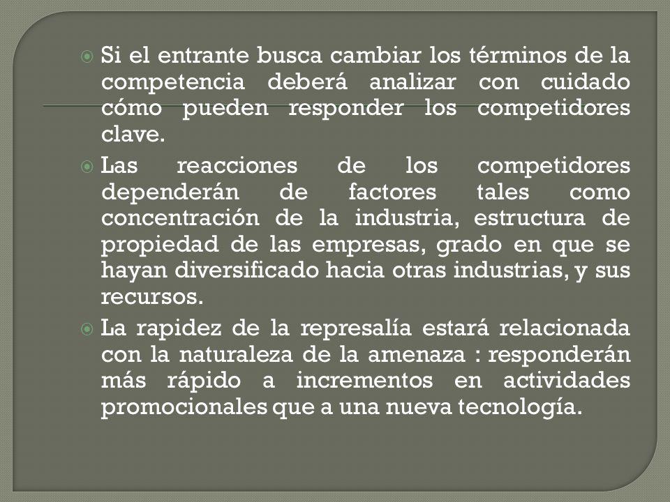 Si el entrante busca cambiar los términos de la competencia deberá analizar con cuidado cómo pueden responder los competidores clave.